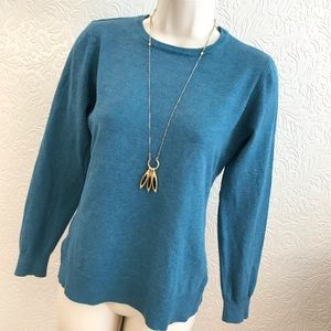 Sweater Top Pullover Rayon EXC! Teal